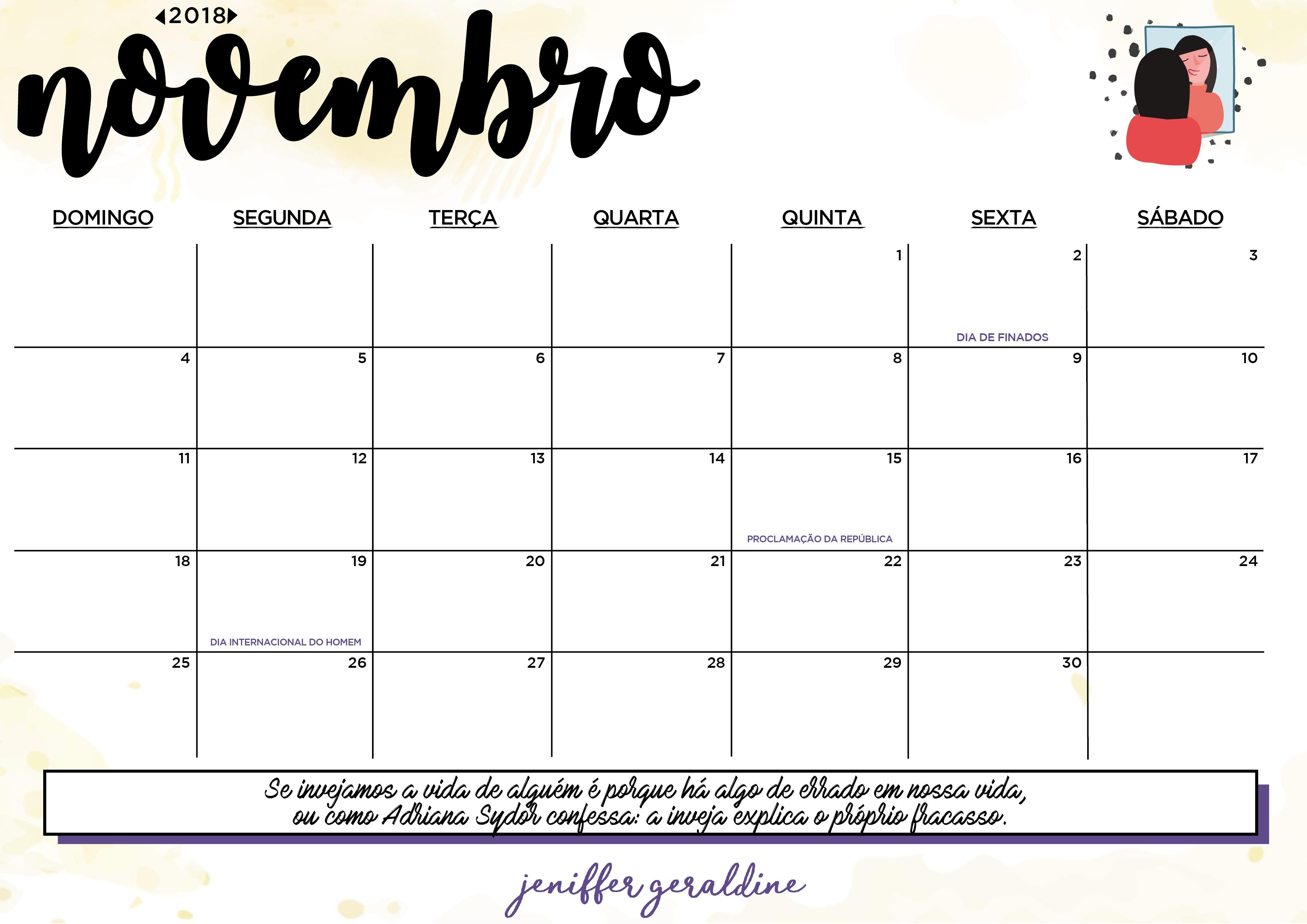 Planner 2018 - outubro, novembro e dezembro - Jeniffer ...